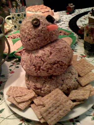 Cheese Ball Snowman Served on a Plate