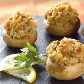 Stuffed Mushrooms Served with Lemon Slices