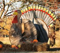 A Colorful Wooden Turkey Cutout