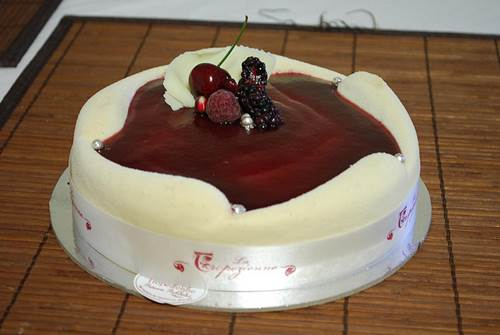 White Chocolate Mousse and Sour Cherry Cake