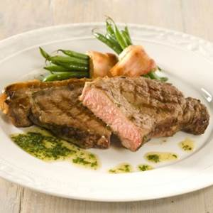 Sirloin Steaks with Green Beans and Parsley Butter